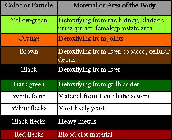 Water After The Footbath Reflect Neutralized Wastes That Have Left Body During Treatment Session Below Is A Color Chart Ilrating What